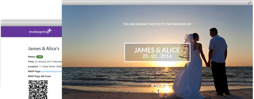 Online Event Guest RSVP Website For Your Wedding Or